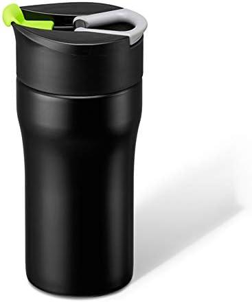 オフィスコーヒープレッサーティーポット カップを押し鍋ステンレス鋼の断熱カップ家庭フレンチプレスポットに伴いポータブル手のコーヒーカップ (色 : 緑, サイズ : 320ml)