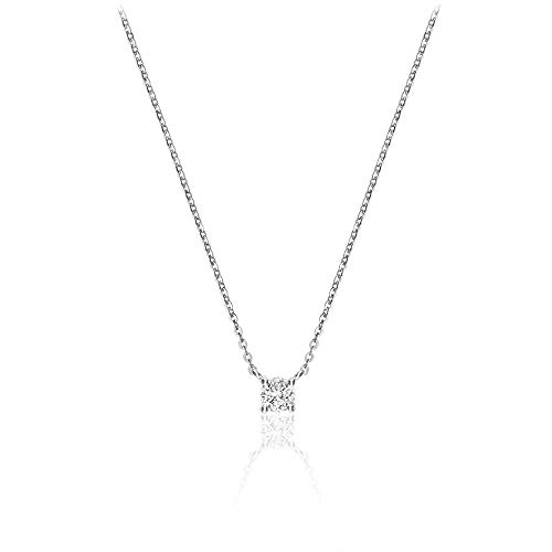(Jewels By Erika N-10S10 10K Gold Solitaire Diamond Necklace 17