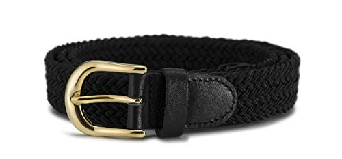Streeze Womens Elastic Stretch Belt 1 Inch Wide with Gold Buckle (Black, - Buckle Belt Gold Woven