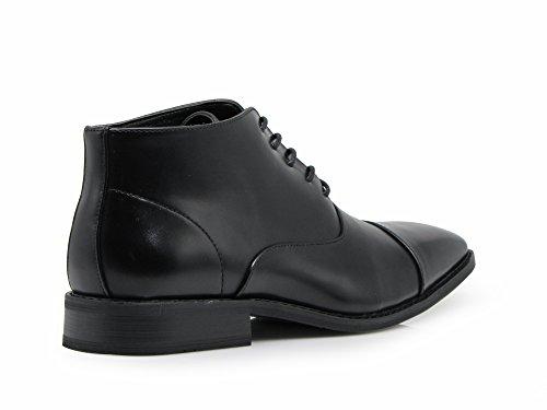 Enzo Romeo Gravity01 Heren Klassieke Captoe Chukka Enkel Chelsea Oxfords Jurk Laarzen Lace Up Kleding Schoenen Zwart