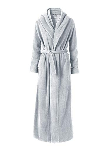 - Liveinu Unisex Plush Fleece Soft Full Long Bathrobe Housecoat Terry Robe Grey S