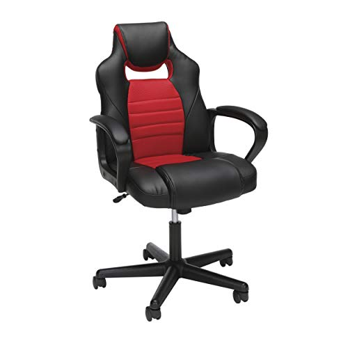 Essentials Gaming Chair - Racing Style Ergonomic Mesh and Leather Computer Chair, Red (ESS-3083-RED)