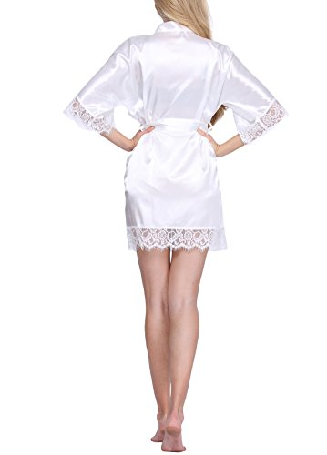 cffd5ec24b Original Kimono Women s Lace-Trimmed Satin Short Kimono Robe ...