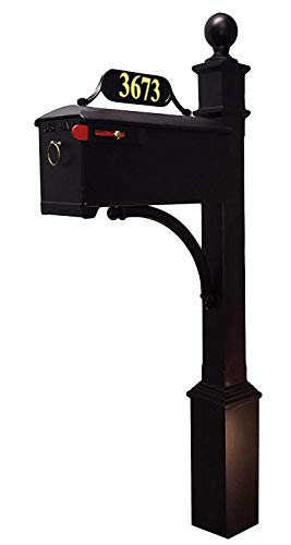 (Addresses of Distinction Williamsburg Mailbox & Post System Style 620 - Black Rust Resistant Mailbox - Includes Address Plate, Numbers, Decorative Scroll & Mounting Hardware - Powder Coated Aluminum)