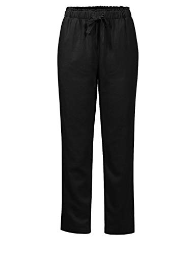 Design by Olivia Women's Summer Drawstring Cropped Elastic Band Linen Pants Black M