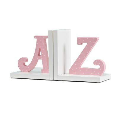 Wood Nursery Room Decorative Bookends Pink Flower/Guitar/AZ/Cupcake Bookends Baby Kids Gift Idea (Pink AZ)