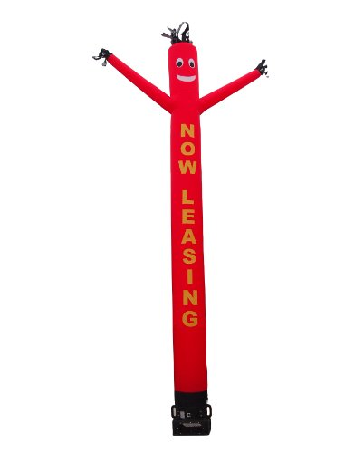Lettered Air Dancer   Blower Full Set   Now Leasing   20Ft Wacky Inflatable Tube Man With Blower