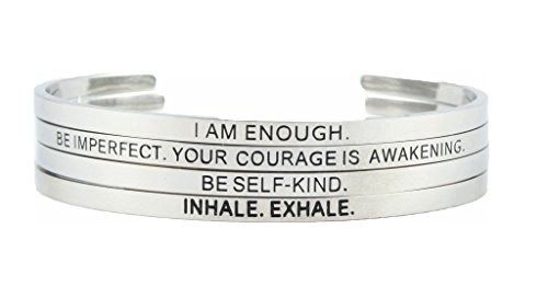 Trend Builder Inc 4 PCS Inspirational Best Anxiety Stress Relief Bangle Bracelets | Friendship Cuff Stainless Steel Silver Wristbands | Jewelry Gift Box Included | BE SELF-Kind for Women