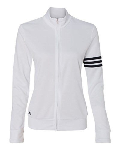 adidas-Ladies' ClimaLite® French Terry Jacket-A191-XX-Large-White-Black (Track Jacket Terry French)