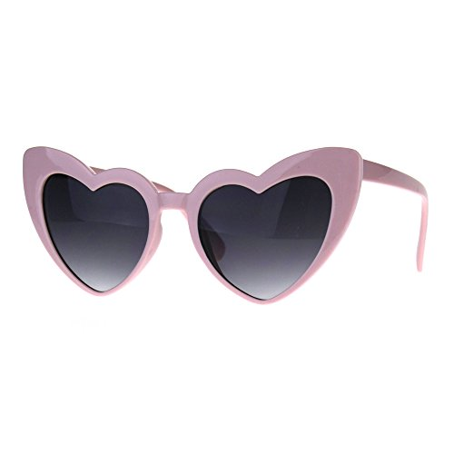 Womens Plastic Cat Eye Heart Shape Hippie Party Shade Sunglasses (Pink, - Sunglasses Plastic Pink