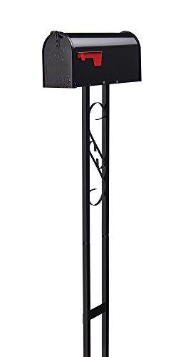 Gibraltar Mailboxes Decorative Medium Capacity Galvanized Steel Black, Mailbox & Post Combo, T11KIT0B
