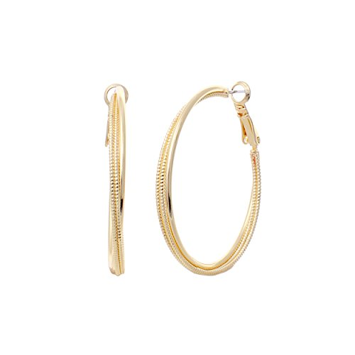 - Rosemarie Collections Hypoallergenic Twisted Textured Hoop Earrings (Gold, 1.5)