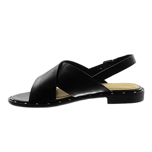 Angkorly Women's Fashion Shoes Sandals - Ankle Strap - Thong - Studded Block Heel 2 cm Black rBpBo