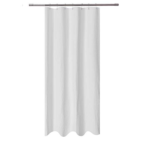 (Stall Shower Curtain Fabric 36 x 72 inch - Waffle Weave, Spa, Hotel Collection, Heavy Duty, Water Repellent, White – Pique Pattern for Decorative Bathroom Curtains (230 GSM))