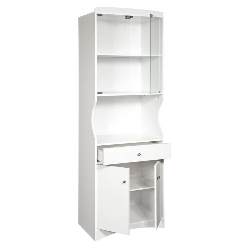 Home Source Industries TIF10208MIC Microwave Cart with Lots of Storage and Glass-Door on Upper Shelves, White
