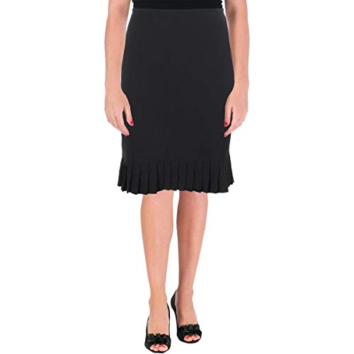 Tahari ASL Womens Ruffled Office A-Line Skirt Black 10