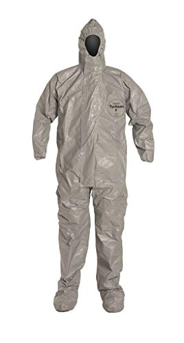 Dupont Tychem F SafeSPEC Coverall TF169TGY with Respirator Fit Hood, Elastic Wrists, Attached Boots, Taped Seam, Storm Flap, Grey [Price is per Each] SIZE 2XL ()