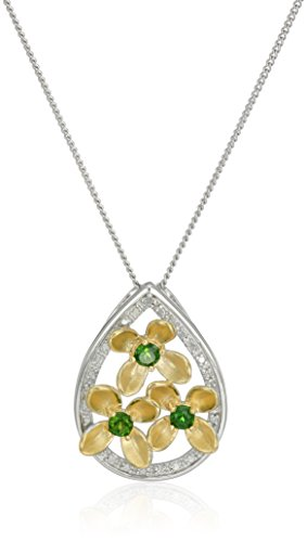 Diamond Flower Drop Necklace - Sterling Silver Chrome Diopside Two Tone Flower Teardrop Pendant Necklace, 18