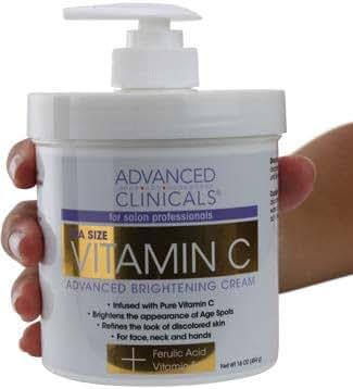 Advanced Clinicals Vitamin C Cream. Advanced Brightening Cream. Anti-aging cream for age spots, dark spots on face, hands, body. Large 16oz.