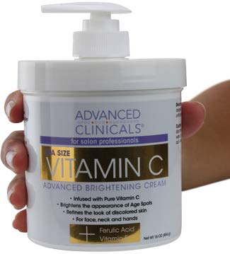 Vitamin C Skin Cream - Advanced Clinicals Vitamin C Cream. Advanced Brightening Cream. Anti-aging cream for age spots, dark spots on face, hands, body. Large 16oz.