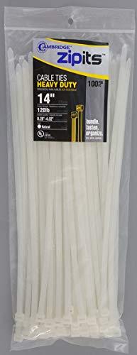 Cambridge Zipits Multi Purpose Cable Ties Zip Ties 14 Inch 120 Lb 100 Pieces Heavy Duty Natural