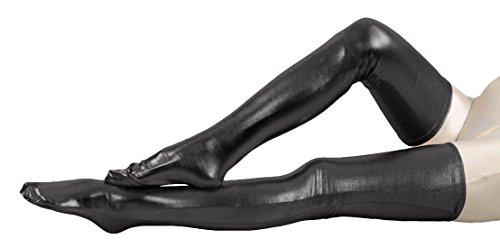 Marvoll Shiny Metallic Thigh High Skintight Zentai Stockings (65cm, Black) (Plus Size Female Superhero Costumes)
