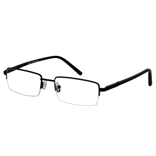 EyeBuyExpress Rectangle Black Reading Glasses Magnification Strength 0.75 ()