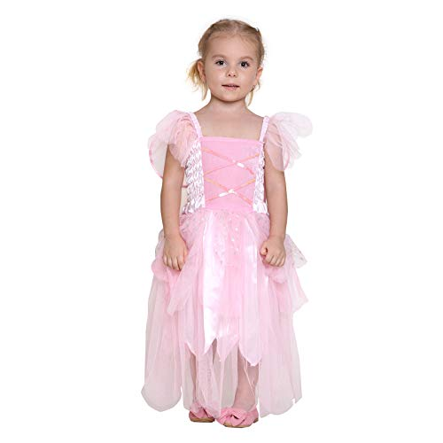 Girls Princess Fairy Wings Tutu Long Dress Birthday Party Costume Halloween, Pink 7-9 Year ()