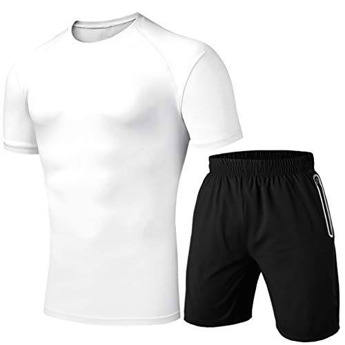 Men's 2 Piece Outfits Workout Muscle Short Sleeve and Shorts Set Fitness Gym Training Cool Dry Top Tracksuit(White,M)
