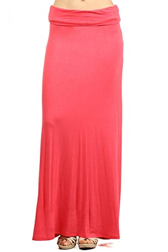 ColorMC Women's Plus Size Solid Self Banded Knit Casual Maxi Knit Long Skirt XL Coral