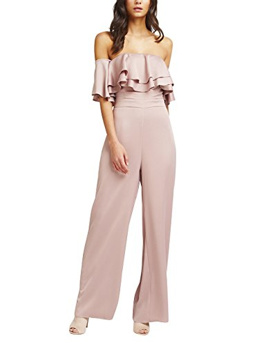 Lipsy Womens Bardot Ruffle Jumpsuit Bandeau Sleeveless Pink (Lipsy Bandeau)