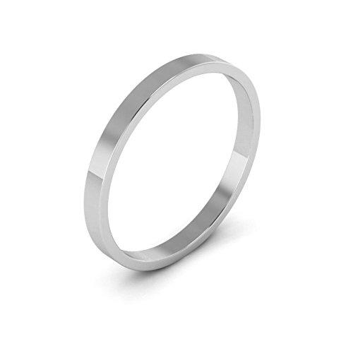 10K White Gold men's and women's plain wedding bands 2mm light flat, 7.5 10k White Gold Flat Band