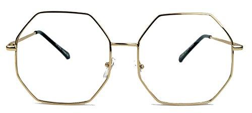 Großes Blogger Brillengestell für Damen Nerdbrille Metallrahmen gold Klarglas oversized 6eckig o.achteckig (8-eckig)