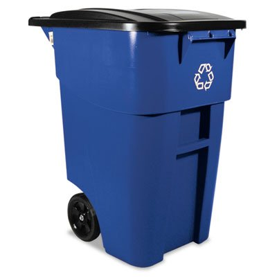 Brute Recycling Rollout Container, Square, 50gal, Blue, Sold as 1 Each