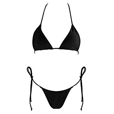 Tainehs Women's Sexy Halter Thong Bikin Tie Side Bottom Triangle Bikini Swimsuits: Clothing