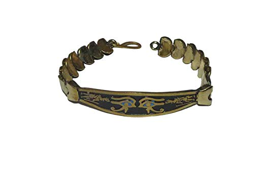 Egyptian Egypt Pharaoh Handmade Brass Bracelet Cuff Horus Eye Lotus Nefertiti Cleopatra Scarab Pyramids Pharaohs Luck Hieroglyphics Pharaoh's Costume Jewelry Accessory Souvenir Hieroglyphic 108]()