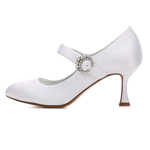 26 de Fermé Boucle Mariage L Mary Mariage Pompes Talon Satin Nuptiale Dentelle silver Chaussures Haut Jane Orteil Femmes 17061 YC de EOxqqwX1Y