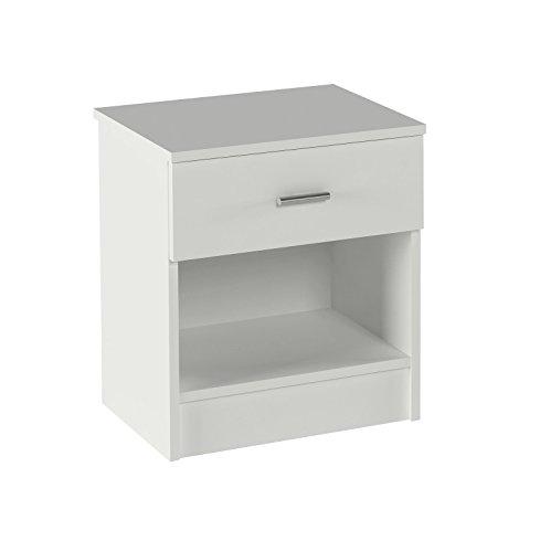 Meka-Block K-9462B - Nachttisch mit Schublade und Hohlraum, Farbe: weiß.