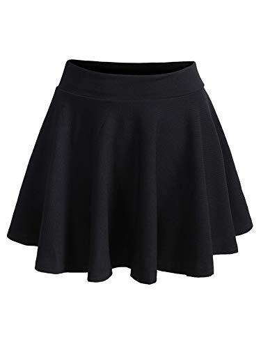 ROMWE Women's Plus Size Stretchy Elastic Waist Flared Casual Mini Skater Skirt Black 3X Plus (Plus Size Skater Skirt)