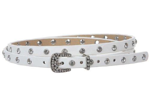Western Ladies Skinny Rhinestone Studded Leather Belt Size: S/M - 31