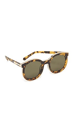 Karen Walker Women's Super Spaceship Flat Lens Sunglasses, Crazy Tort/G15 Mono, One - Walker One Karen