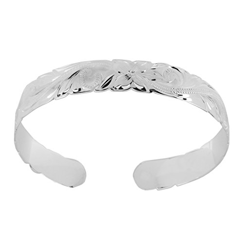 Sterling Silver 10mm Hawaiian Hibiscus Cuff Bracelet (sterling-silver) by Hawaiian Silver Exchange