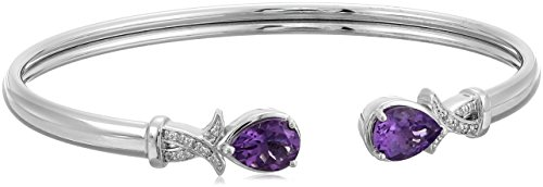 Sterling Silver Oval Amethyst with Diamond Accent Bangle Bracelet, 6.5