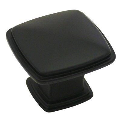 "Cosmas® 4391FB Flat Black Modern Cabinet Hardware Knob - 1-1/4"" Inch Square"