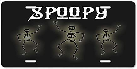 Iliogine Spoopy Halloween Skeleton Costume Novelty Car Tag Frame Auto License Plate Holder Metal Aluminum Sign ()