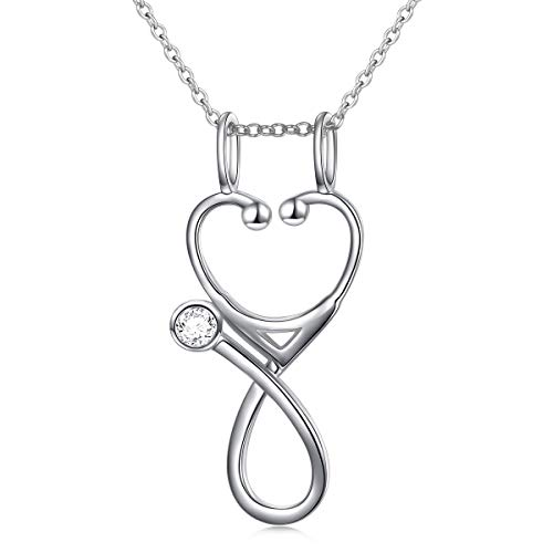 S925 Sterling Silver Jewelry Open Nurse Stethoscope Pendant Ring Holder Necklace Wedding Engagement Anniversary Keepsake Gift for Her, Wife, Girlfriend