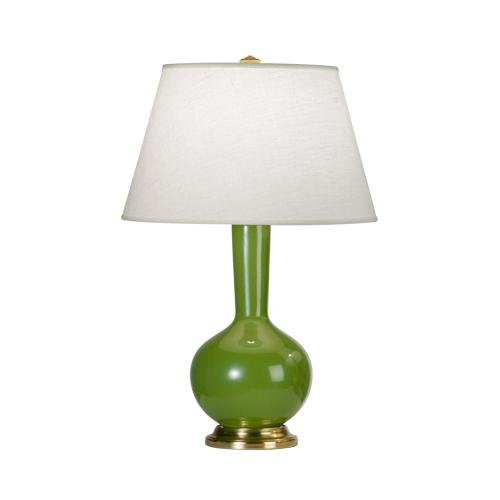 (Robert Abbey 1490X Lamps with Oyster Linen Shades, Kiwi Glazed Ceramic/Antique Natural Brass Finish, 24.25