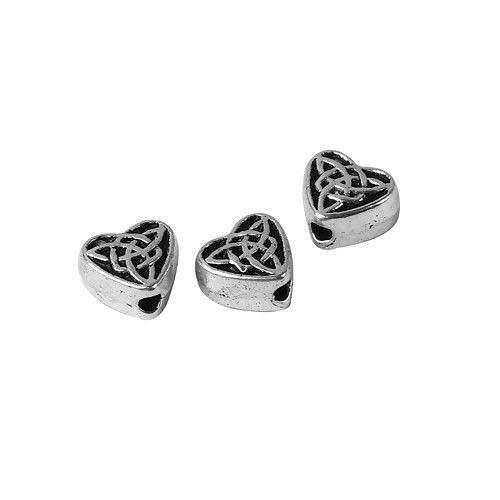 20 Tibetan Antiqued Silver 6.5mm Heart Celtic Trinity Knot Spacer Beads ()