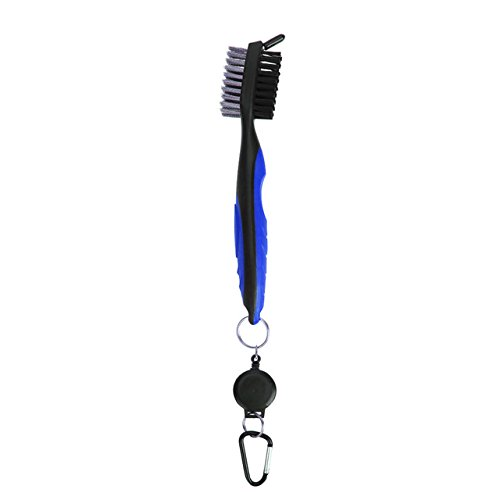 Quality Golf Grooves Head Multi-Purpose Cleaning Brush Double-Side With Keychain For Golf Ball Putter Wedge Club Cue Cleaner - Blue