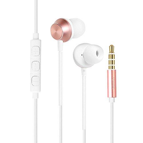 VBESTLIFE ステレオイヤホン カナル型イヤホン 高音質 コンパクト 軽量 ノイズキャンセリング機能 ios、Android適用(ローズゴールド)